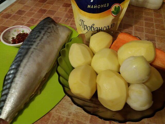 Ингредиенты для приготовления блюда из скумбрии