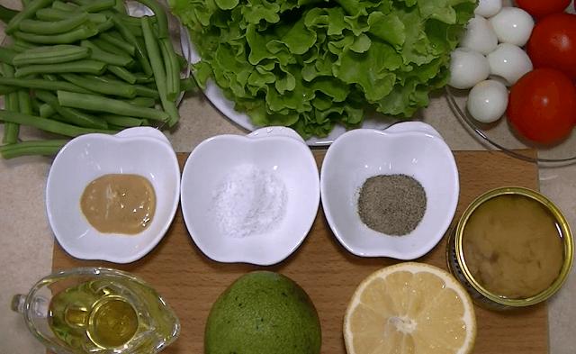 Ингредиенты для салата с тунцом и стручковой фасолью