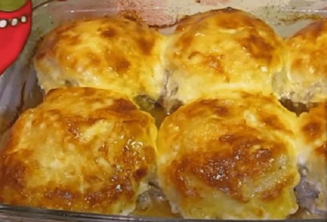 Готовые стожки с картофелем и сыром