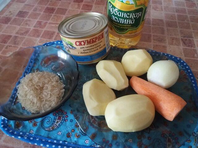Ингредиенты для рыбного супа со скумбрией