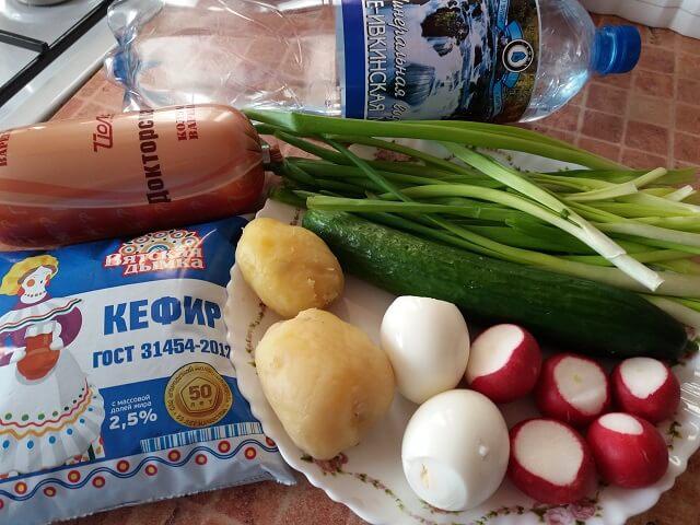 Набор продуктов для окрошки на кефире