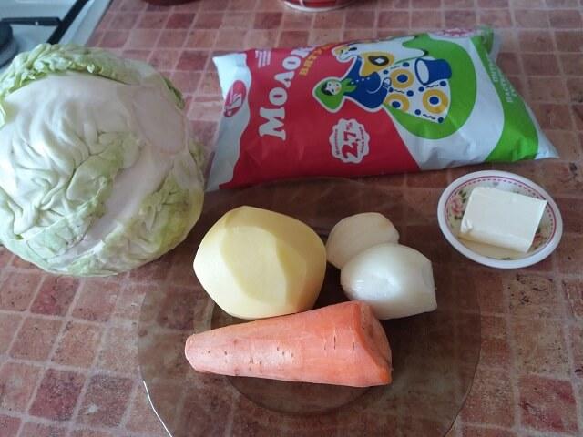 Ингредиенты для молочного супа с овощами