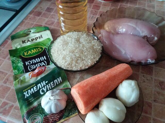 Ингредиенты для плова из курицы