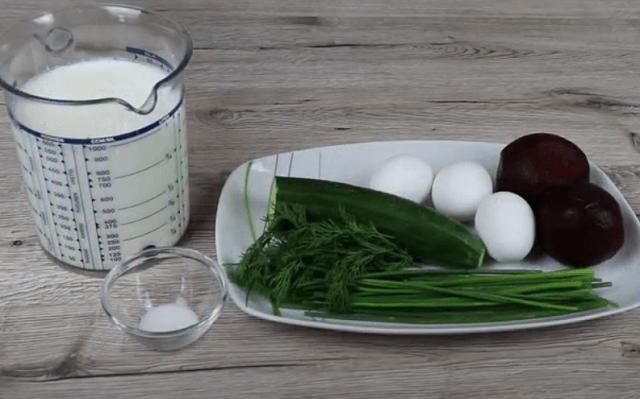 Ингредиенты для свекольника на кефире